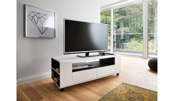 Meuble TV Blanc Design sur Roulettes