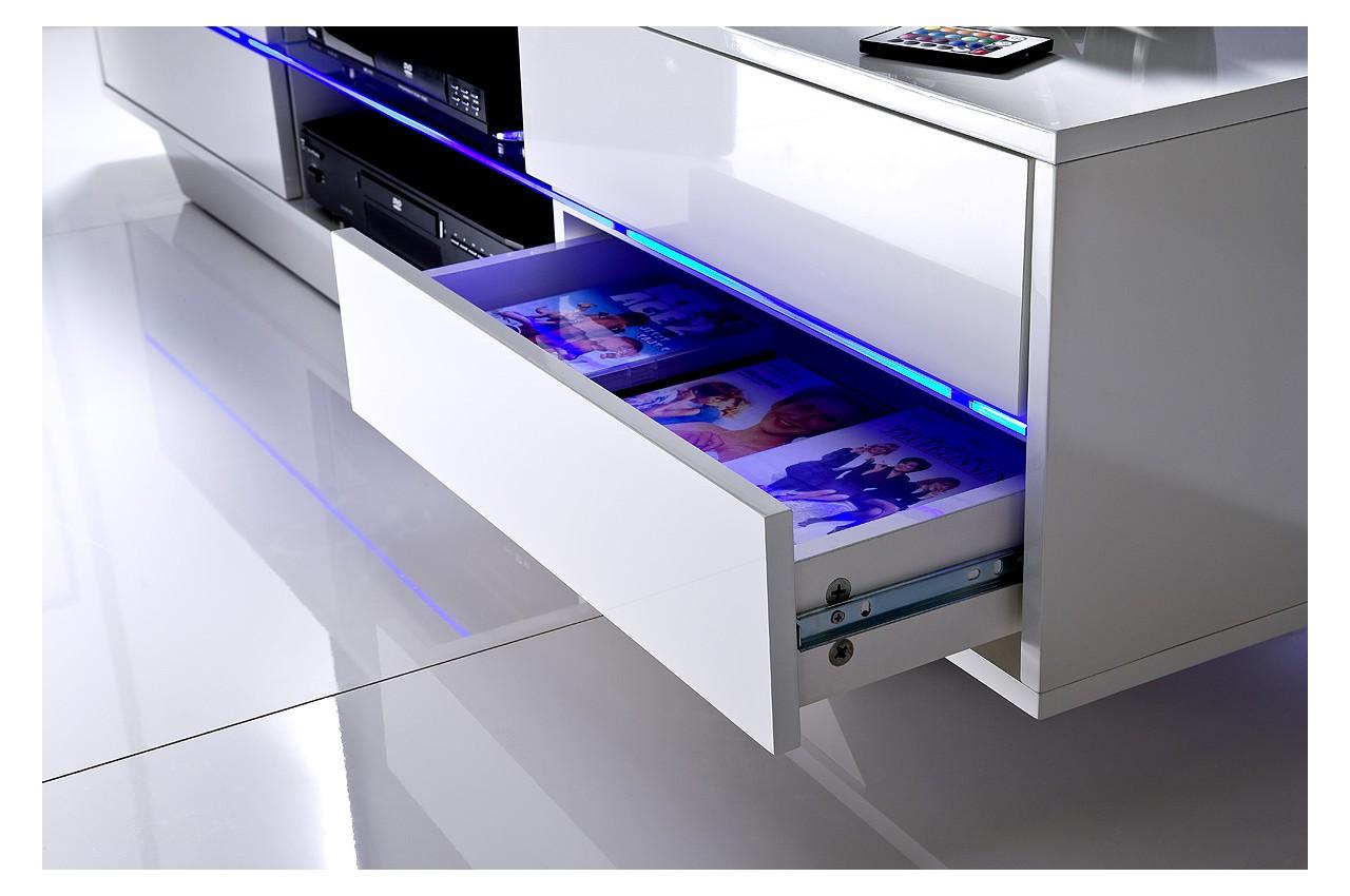 Meuble Tv Blanc Laqu Design Led Bleu Novomeuble # Meuble Tv Bleu