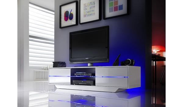 Meuble TV Blanc Laqué Design Led bleu