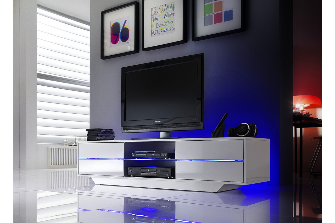 Meuble tv blanc laqu design led bleu novomeuble for Meuble laque blanc