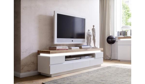 Meuble TV Bois Massif et Blanc Laqué Mat