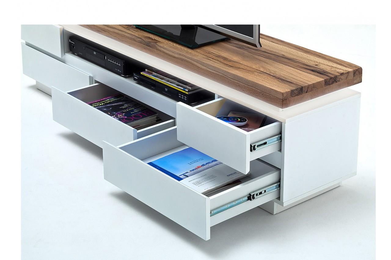 meuble tv bois massif et blanc laqu mat pour salon. Black Bedroom Furniture Sets. Home Design Ideas