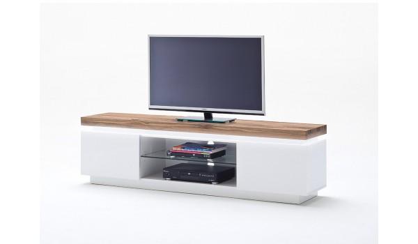 Meuble TV Chêne Massif et Blanc Laqué Mat