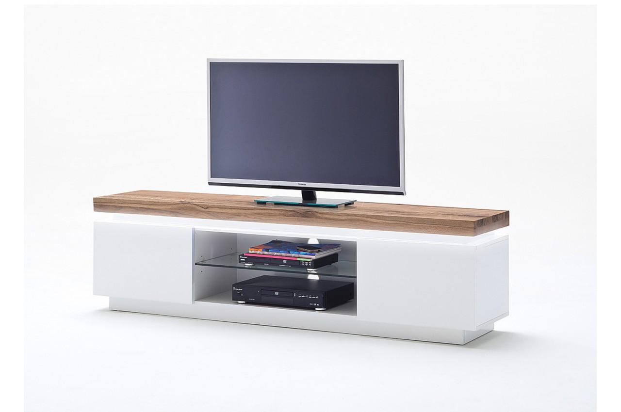 meuble tv ch ne massif et blanc laqu mat pour salon. Black Bedroom Furniture Sets. Home Design Ideas