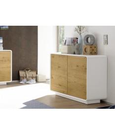 Commode 2 portes Bois & Blanc Laqué Design