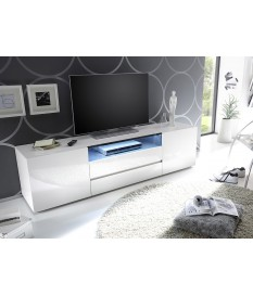 Meuble TV 185 cm Blanc Laqué Design Led Blanc