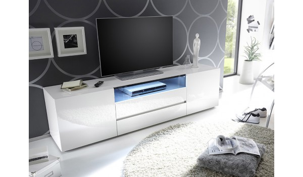 Meuble Tv 185 Cm Blanc Laque Design Led Blanc Novomeuble