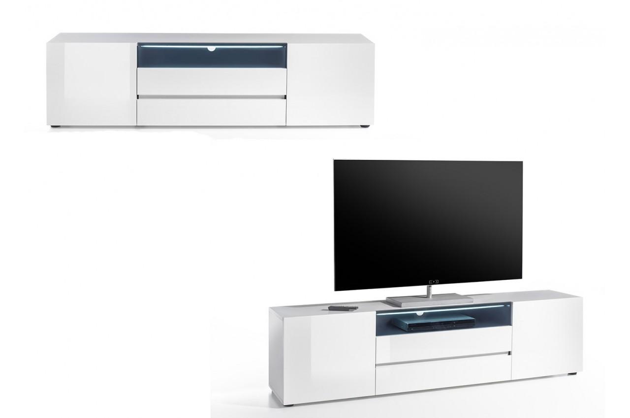 Meuble Tv 185 Cm Blanc Laqu Design Led Blanc Novomeuble # Meuble Tv Pas Cher Blanc Laque