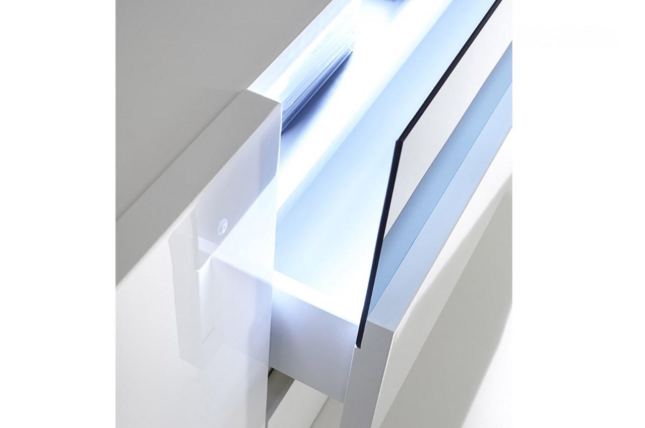 meuble tv 185 cm blanc laqu design led blanc novomeuble. Black Bedroom Furniture Sets. Home Design Ideas