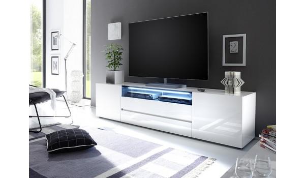 Meuble TV 203 cm Blanc Laqué Design Led Blanc