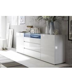 Buffet de Séjour Blanc Laqué Design Led Blanc