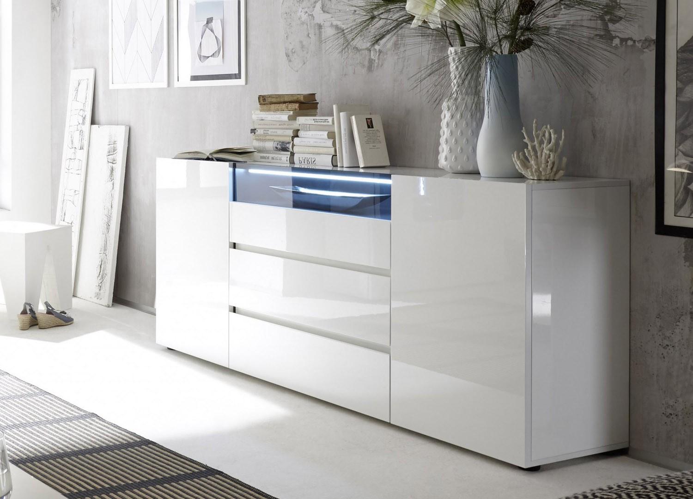 Buffet De Sejour Blanc Laque Design Led Blanc Pour Salle A