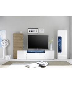 Meuble TV Design Lumineux Blanc Laqué-Chêne