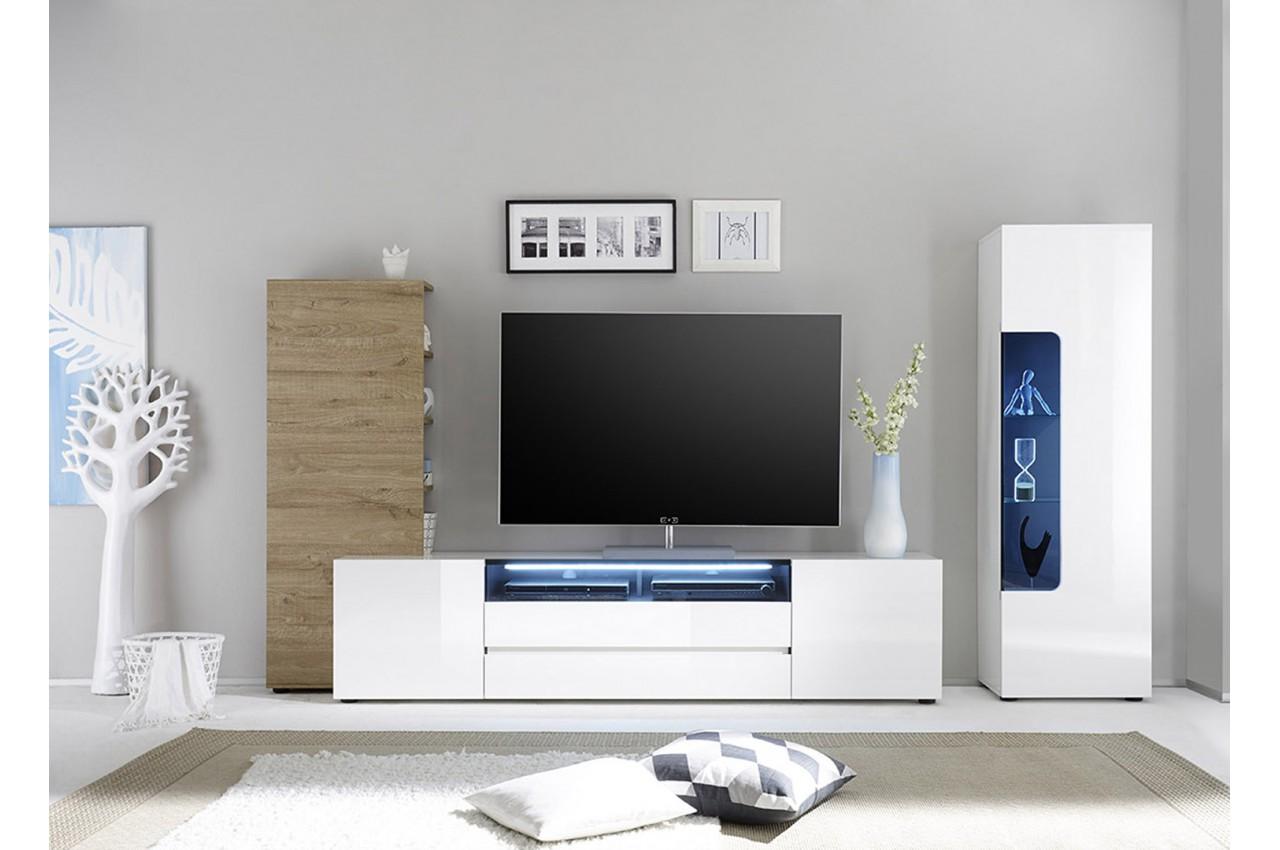 meuble tv design lumineux blanc laqu ch ne novomeuble. Black Bedroom Furniture Sets. Home Design Ideas