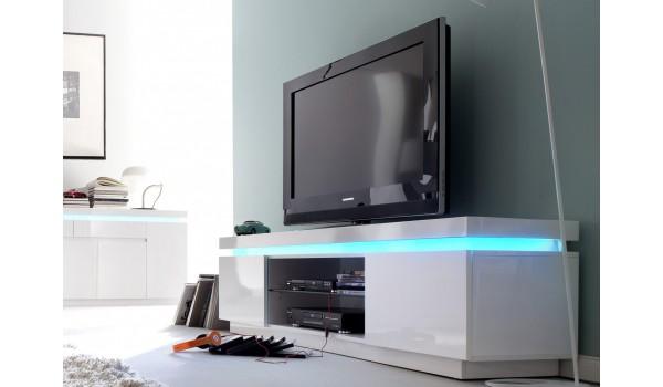 Meuble TV Blanc Laqué 175 cm Led RGB