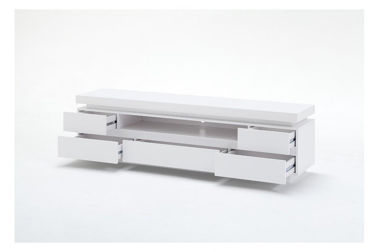 Meuble t l blanc laqu 5 tiroirs led rgb novomeuble for Meuble tele led