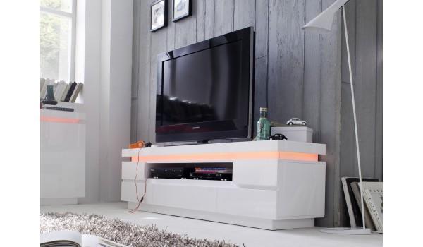 Meuble Télé Blanc Laqué 5 Tiroirs Led RGB