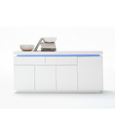 Buffet 175 cm Blanc Laqué & Led RGB