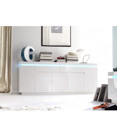 Buffet 200 cm Blanc Laqué & Led RGB