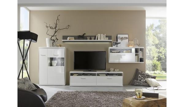 Meuble TV Design Lumineux Blanc Laqué