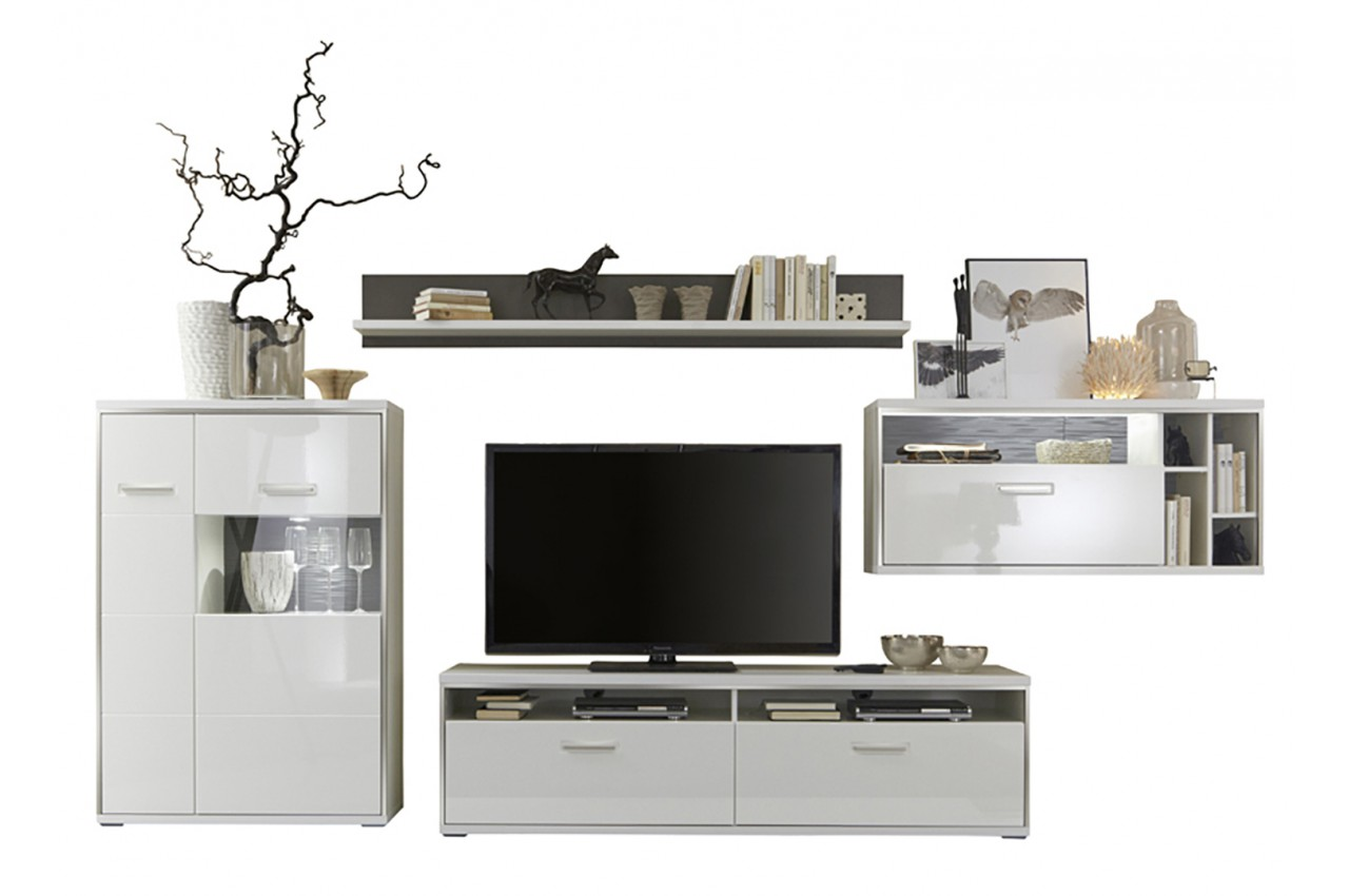 meuble tv design lumineux blanc laqu novomeuble. Black Bedroom Furniture Sets. Home Design Ideas