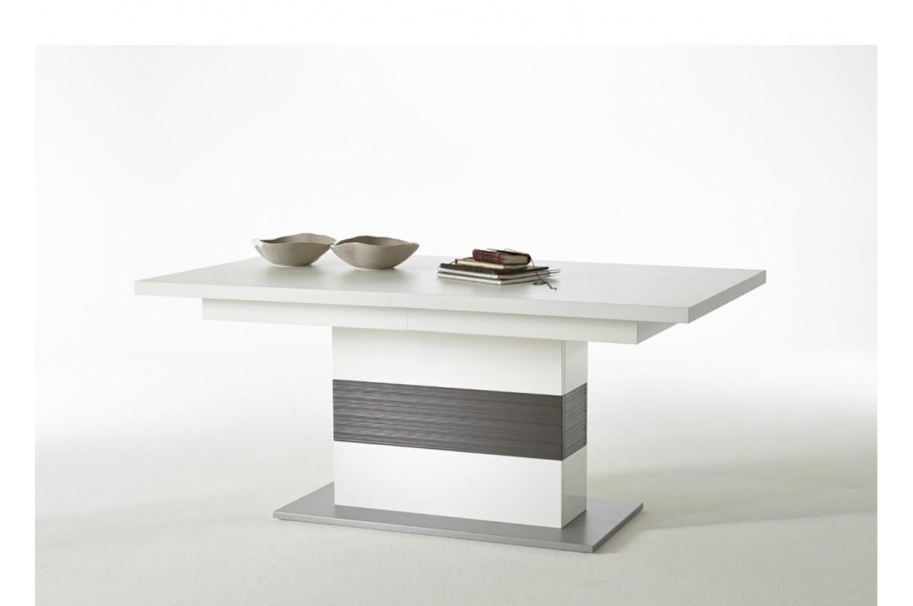 Salle manger contemporaine blanc laqu novomeuble for Meuble sejour complet