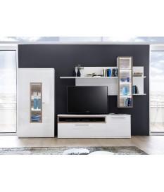 Meuble TV Design Mural Blanc & Bois