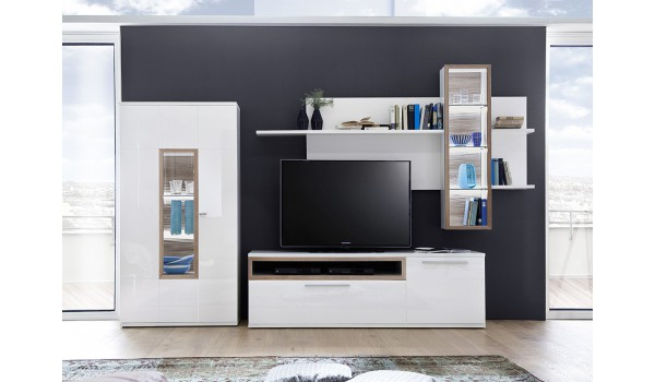Meuble Tv Design Mural Blanc Bois