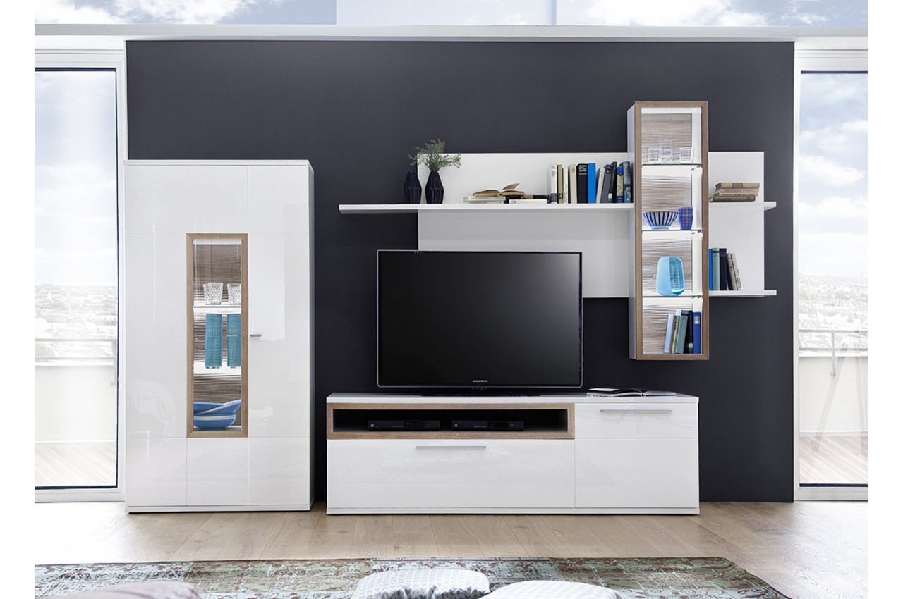 Meuble Tv Design Mural Blanc Amp Bois Pour Salon