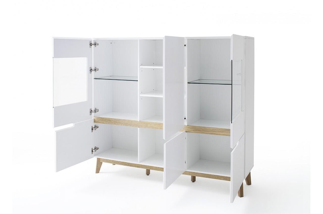 buffet haut vitr blanc laqu mat pour salle manger. Black Bedroom Furniture Sets. Home Design Ideas