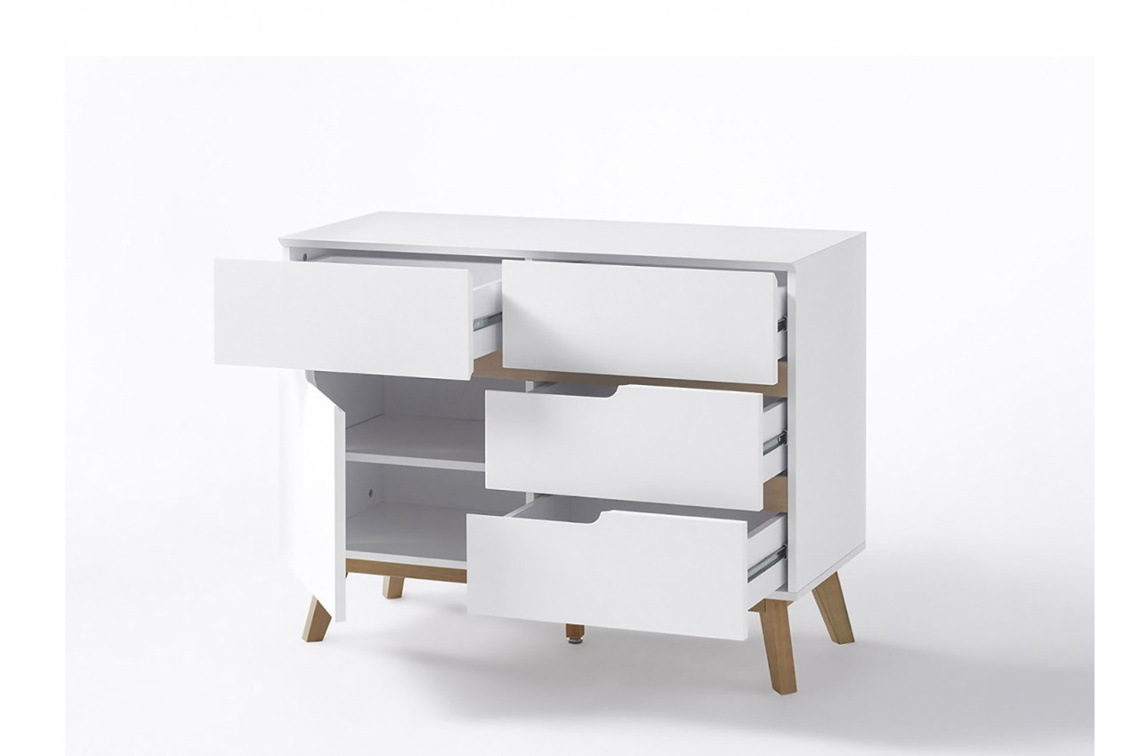 commode de salon scandinave blanche pour salon. Black Bedroom Furniture Sets. Home Design Ideas