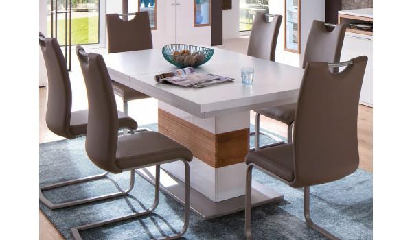 Table de Repas Design Blanche & Bois effet 3D