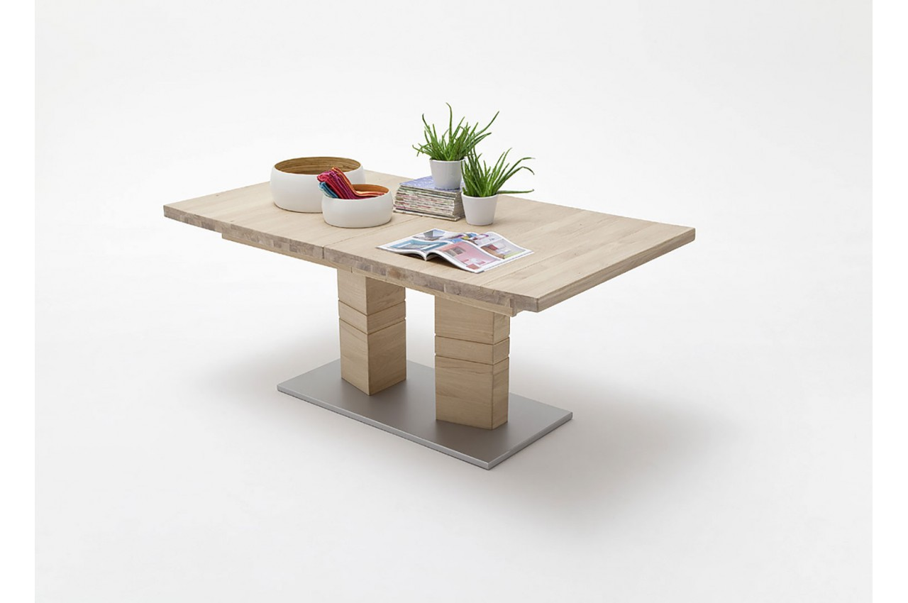 Grande table en bois massif 180 270 cm novomeuble for Recherche meuble salle a manger