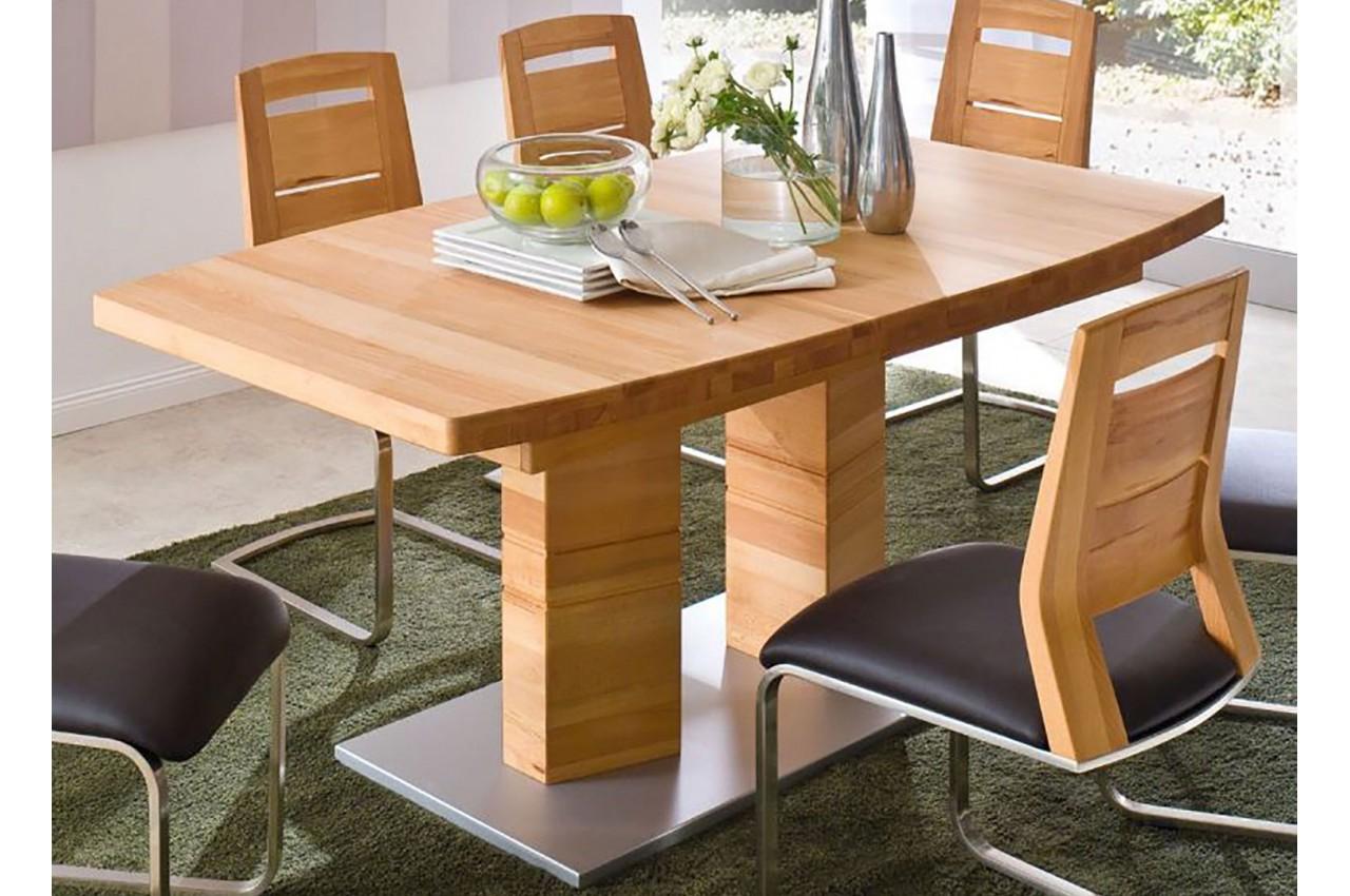 Table de salle manger en bois massif 140 220 cm novomeuble for Salle a manger bois massif