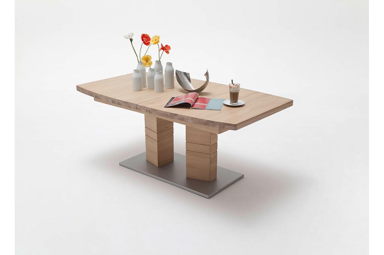 Table de salle manger en bois massif 140 220 cm novomeuble for Meuble mural salle a manger