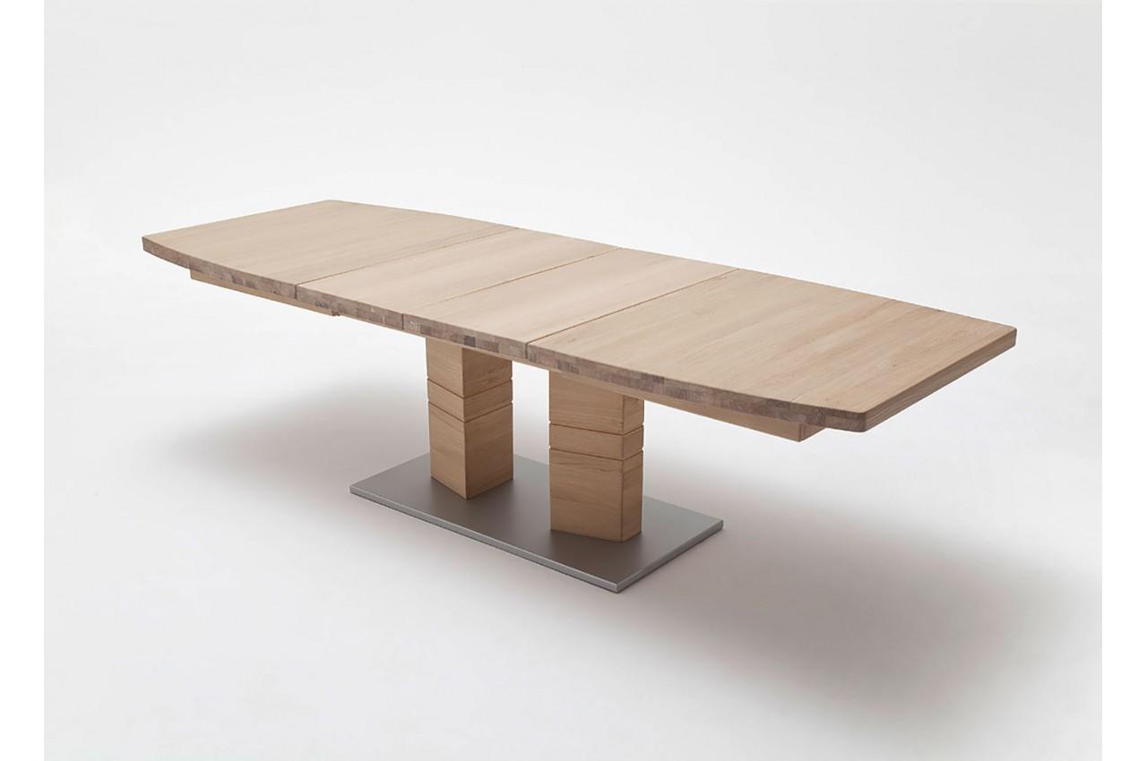 Table de salle manger en bois massif 140 220 cm novomeuble for Meuble salle a manger mural