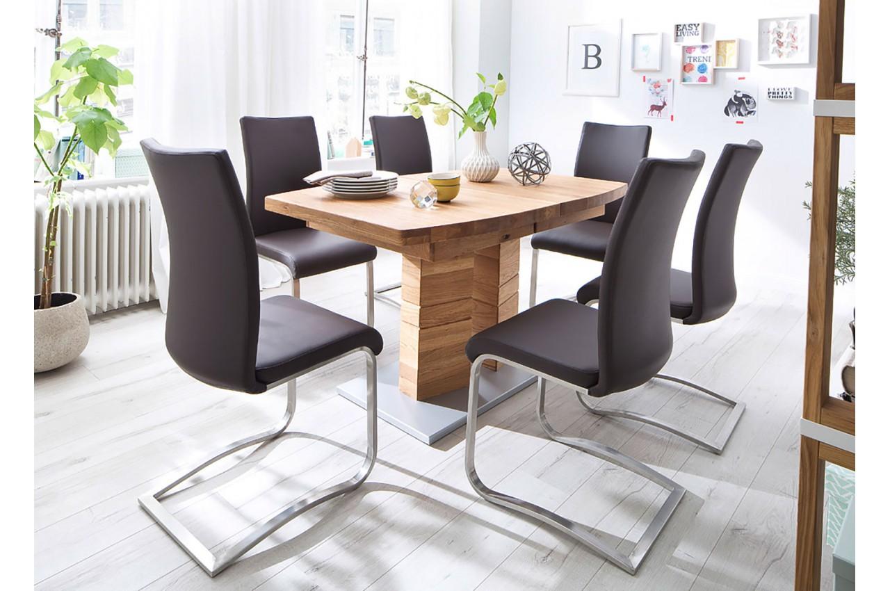 Table de salle manger en bois massif 140 220 cm novomeuble for Table salle a manger 140 cm
