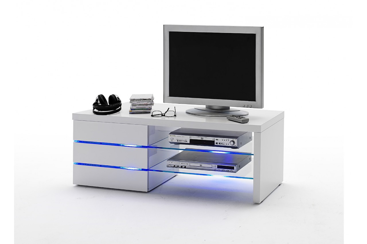 meuble tv led blanc laqu pour salon. Black Bedroom Furniture Sets. Home Design Ideas