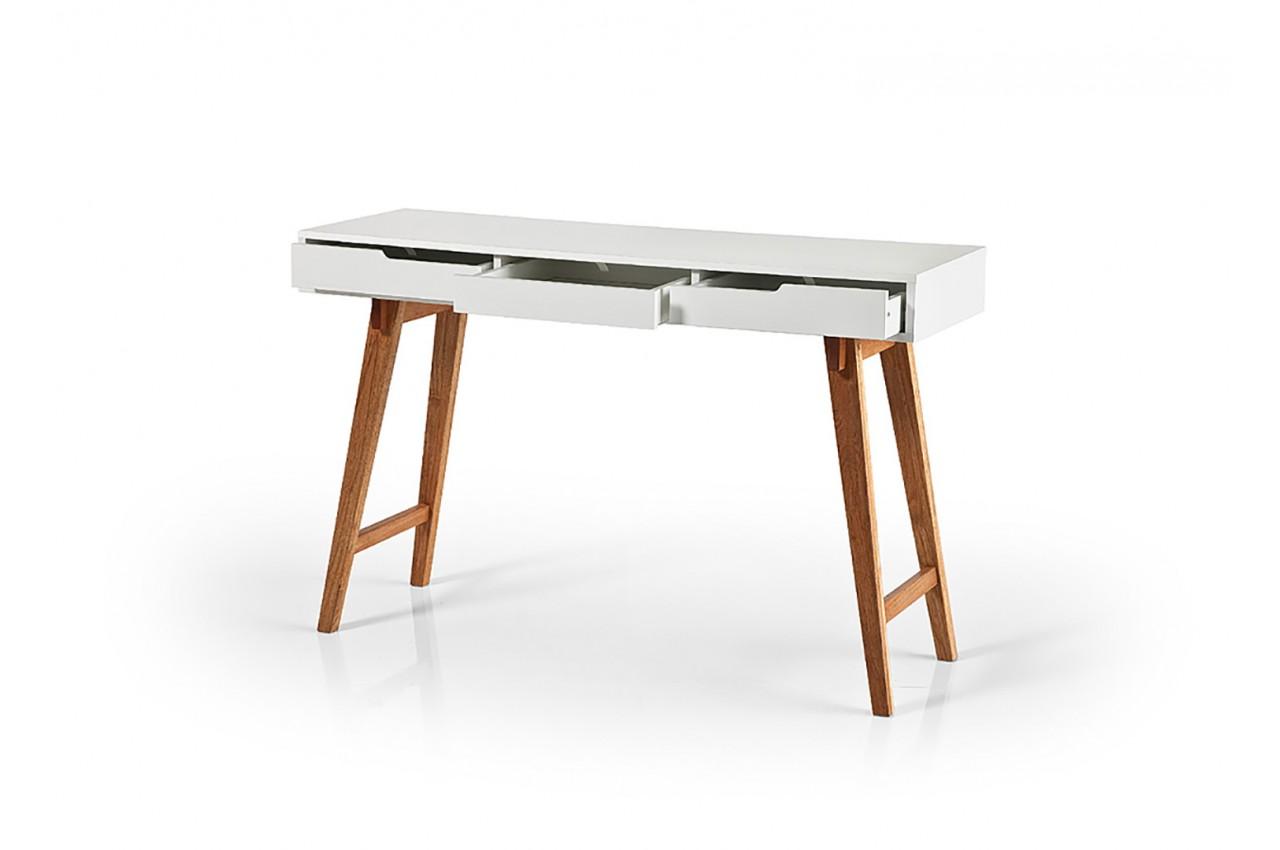 Console tiroirs scandinave blanche bois novomeuble for Table console scandinave