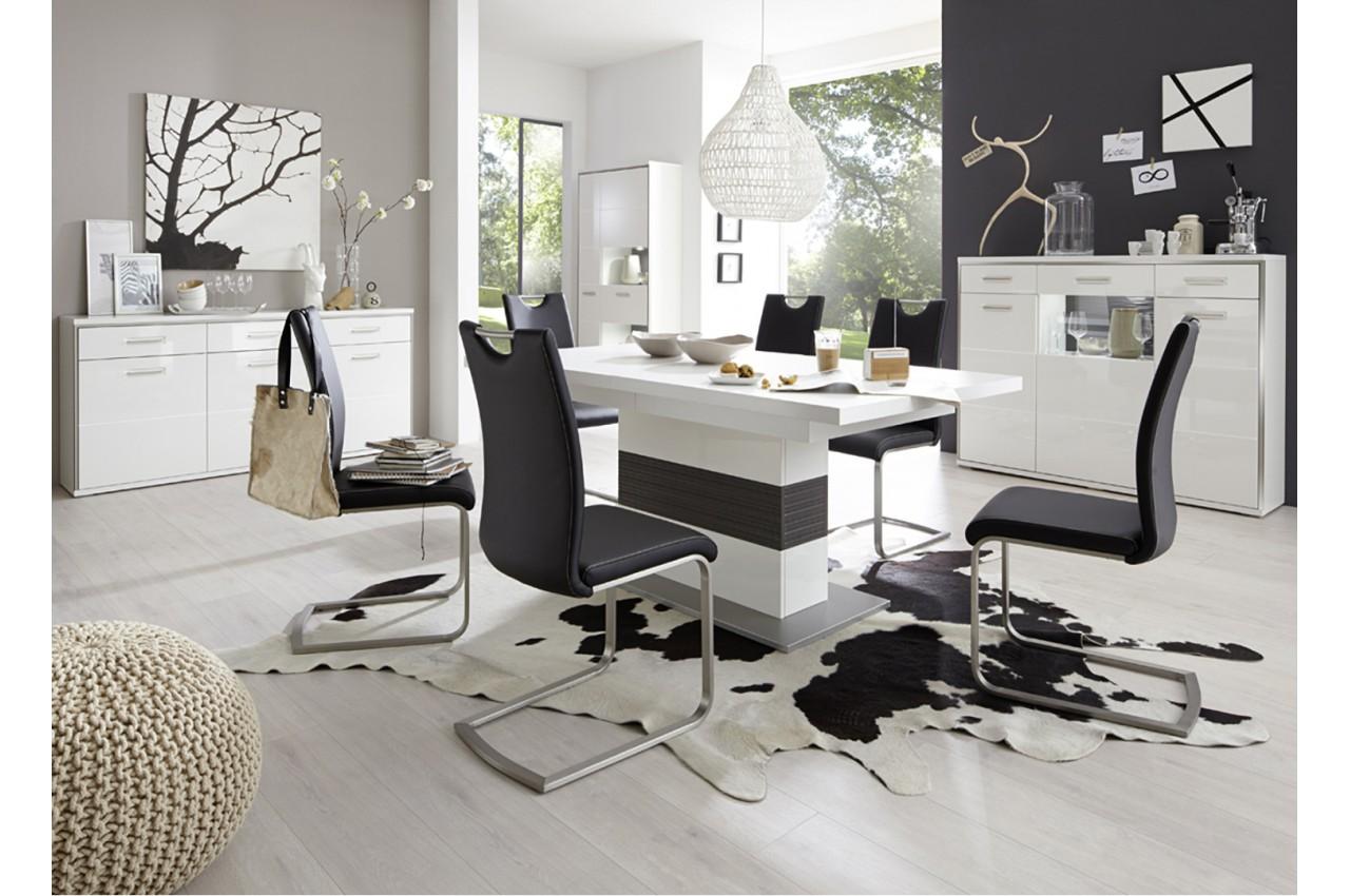 Table de repas moderne blanche effet gris 3d novomeuble for Salle a manger 3d