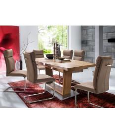 table de repas desig en bois massif ovalisé