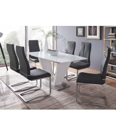 Table Design Blanche & Plateau en Verre