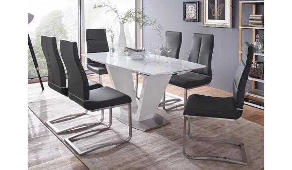 table design blanche laqué et verre