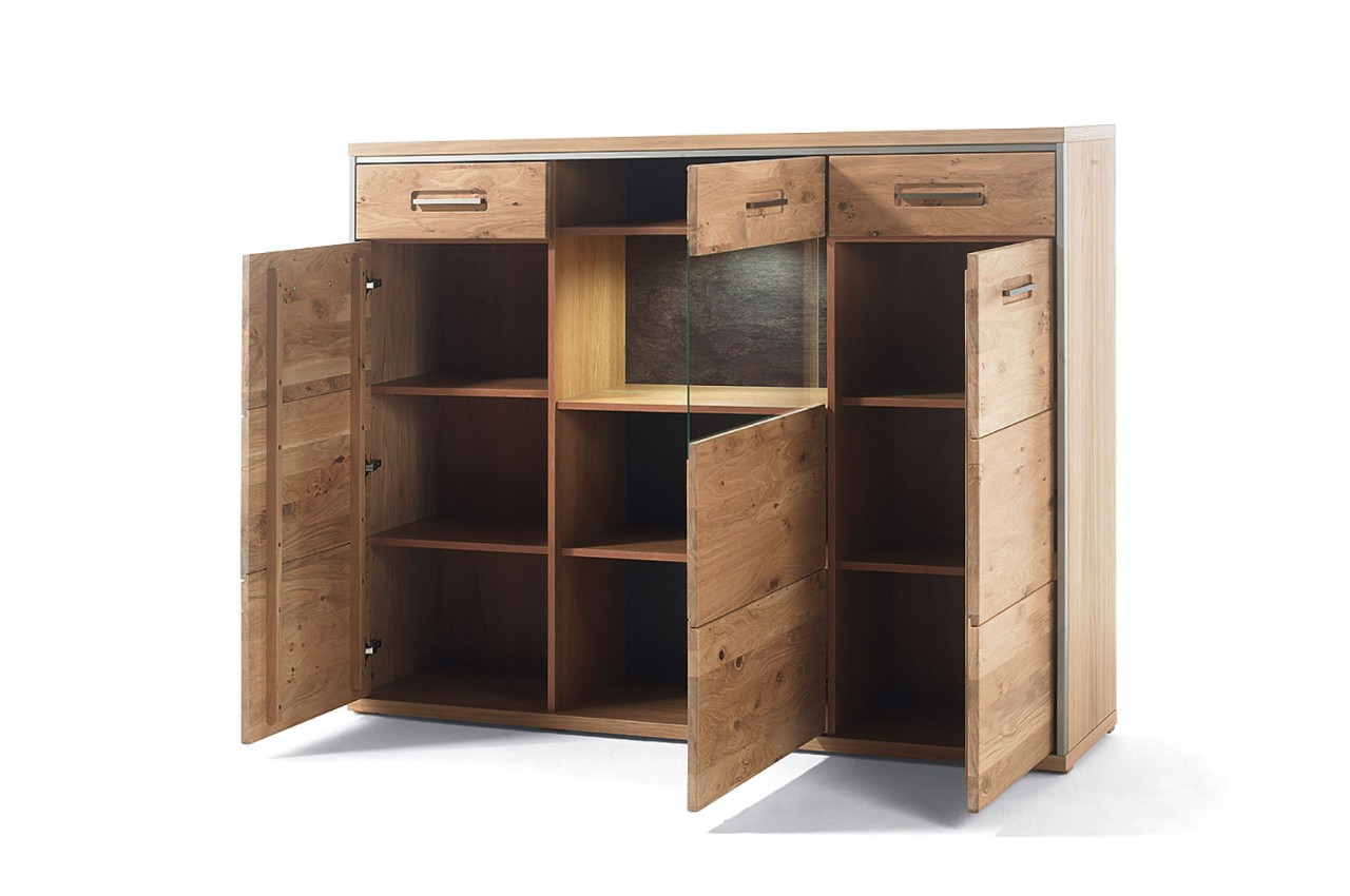 buffet haut contemporain en bois ch ne massif novomeuble. Black Bedroom Furniture Sets. Home Design Ideas
