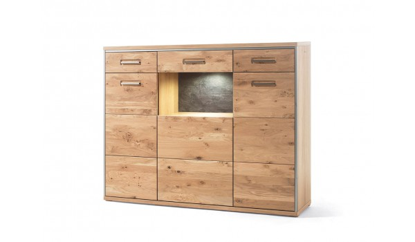 buffet haut contemporain en bois ch ne massif pour salle manger. Black Bedroom Furniture Sets. Home Design Ideas