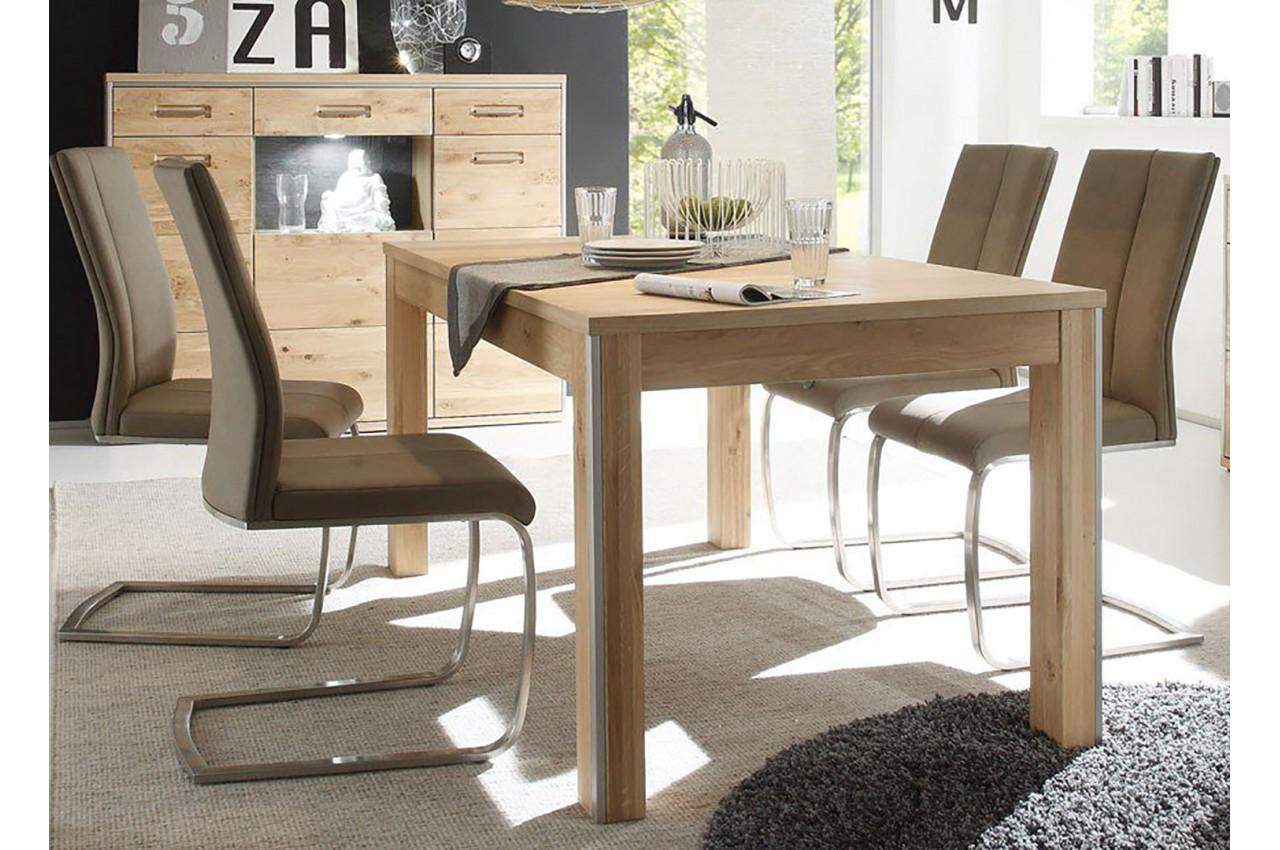 Table de repas contemporaine en bois ch ne massif pour - Salle a manger en bois ...