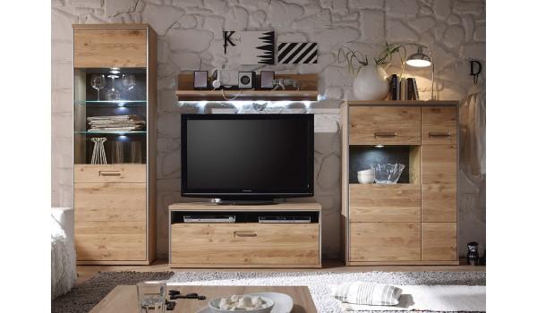 ensemble tv contemporain en bois chene massif