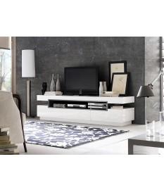 Meuble TV Design Blanc & Gris Laqué