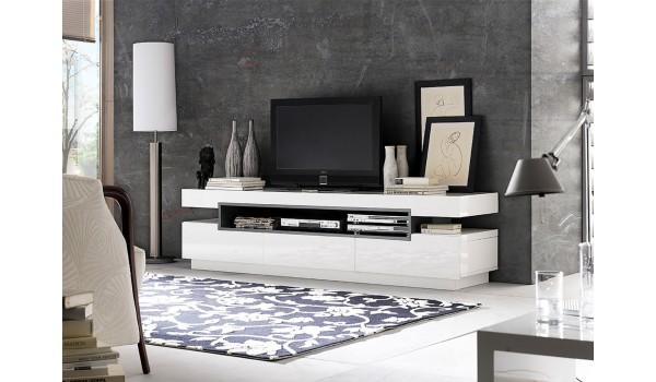Meuble Tv Design Blanc Gris Laque Pour Salon