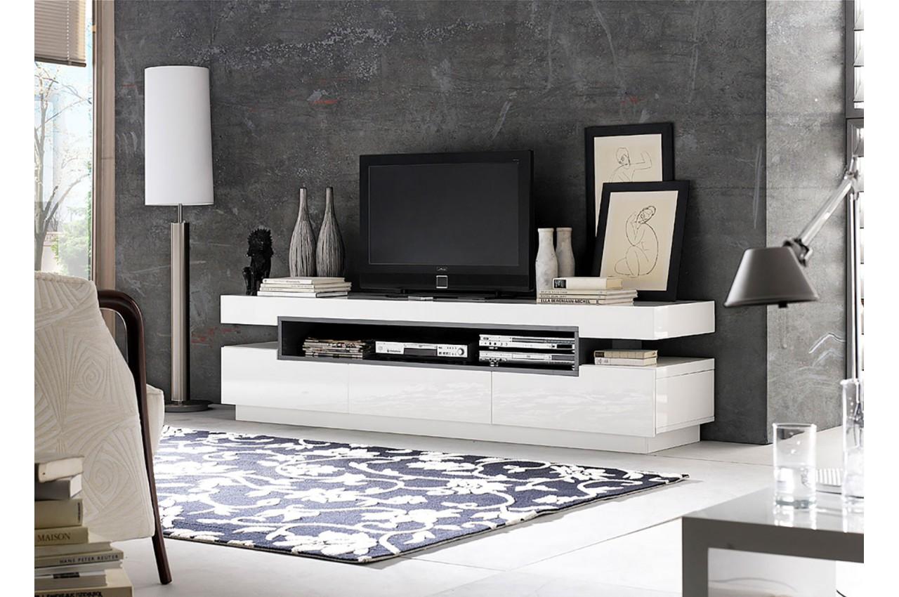 Meuble Tv Design Blanc Gris Laqu Novomeuble # Meuble Tv Blanc Gris Laque